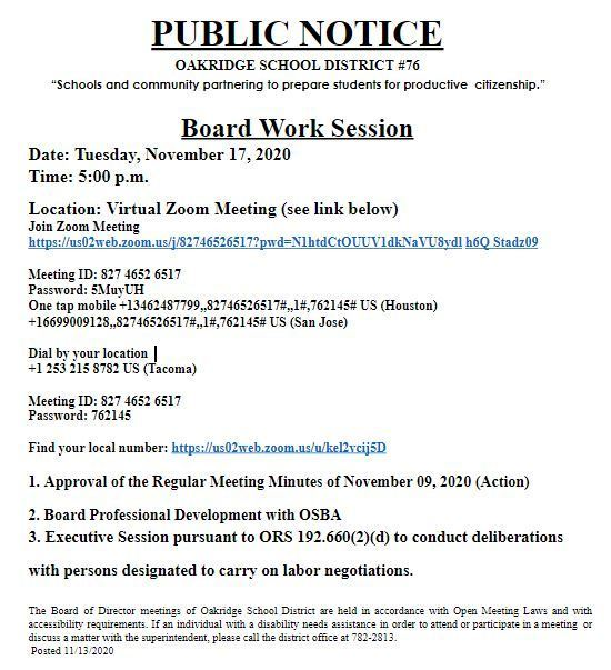 OSD Board Work Session - 11/17/20