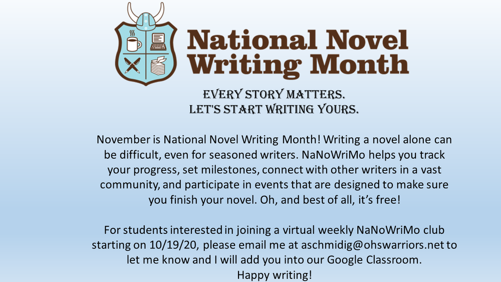 OJSH - National Novel Writing Month