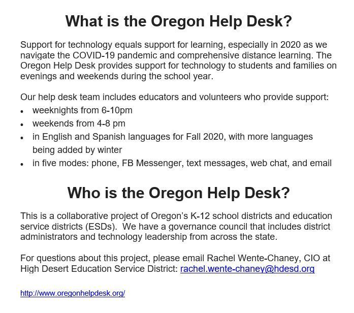 Oregon Help Desk Information