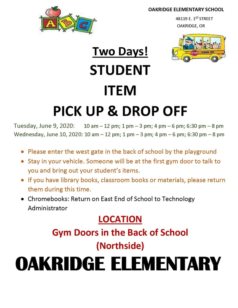 Elementry School Item Pick up & Drop Off