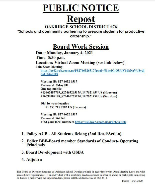 Board Work Session - 01/04/21