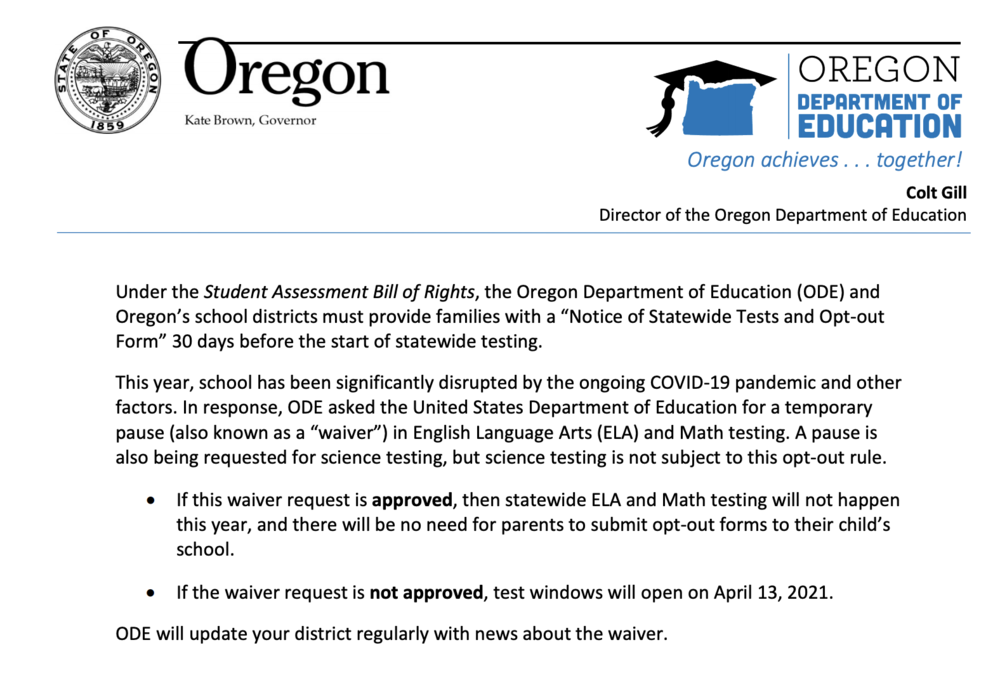 State Testing Information,  Updates & Opt Out