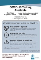 COVID-19 Testing Available Wednesday, June 24th